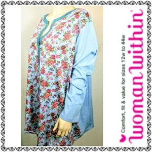{Woman Within} blue/floral notched top, 4X NWOT